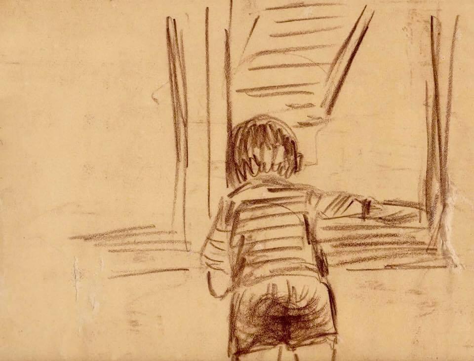 ritratto alla finestra di Paolo, disegno di zia Carla