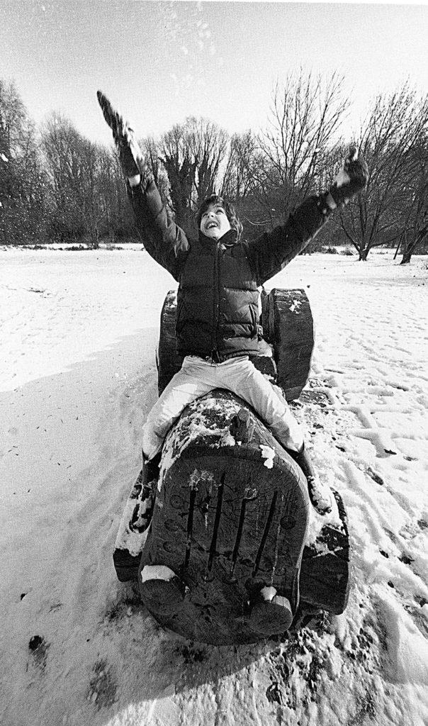 bambino al boscoincittà felice nella neve