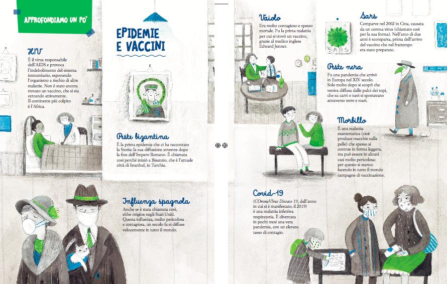 """le grandi epidemie, illustrazioni di Ilria Zanellato, dal libro """"Possiamo cambiare il mondo"""", Mondadori ragazzi"""